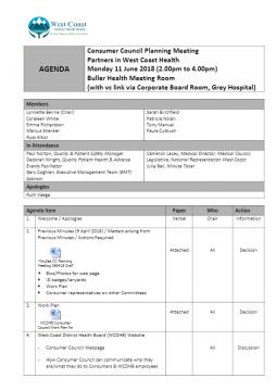 Consumer Council Agenda - 11 June 2018 | West Coast DHB