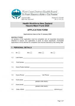 HWNZ 2020 Application Form   West Coast District Health Board Example Job Application Form Nz on example job application letter, example order form, example proposal form,